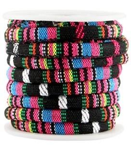 50cm Aztec koord 6x4mm Zwart hot pink