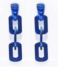resin hoop schakel oorbellen  blauw