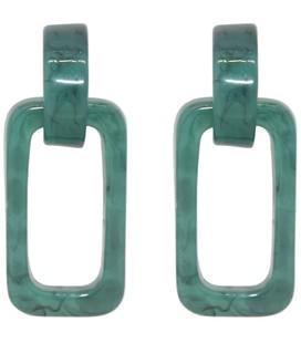 resin hoop oorbellen rechthoek groen blauw