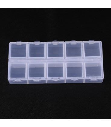 kralen strass dooosje  13x5x1.5cm 12 vaks genummerd
