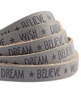 band Wish Dream Believe Taupe grijs