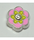 Charm bloem roze/geel