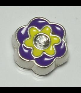 Charm bloem paars/geel