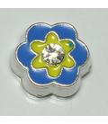 Charm bloem blauw/geel