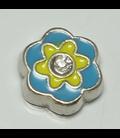 Charm bloem lichtblauw/geel