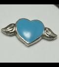 Charm hartje met vleugels blauw