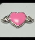 Charm hartje met vleugels roze