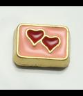 Charm 2 hartjes in roze (goud)