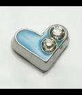 Charm hart 2-strass blauw