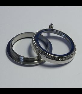 10 Memoria Locker silver strass schroefdop