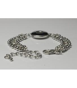 metalen 1 click armband met strasjes