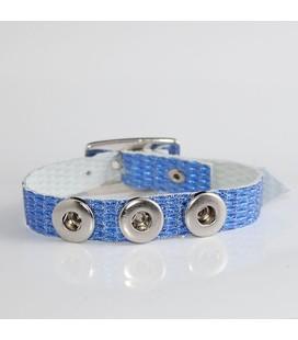mini click gesp band blauw metalic