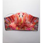 katoenen mondkapje Flamingo met hoofd of oor elastiek