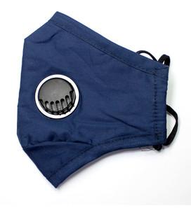 katoenen mondkapje blauw met filter