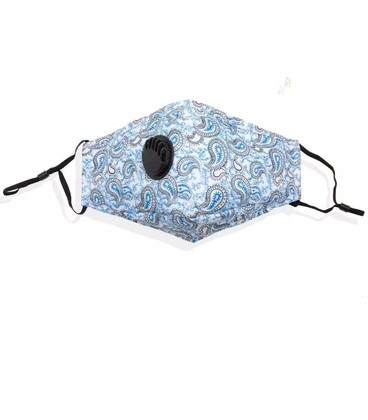 katoenen mondkapje blauw met ventiel