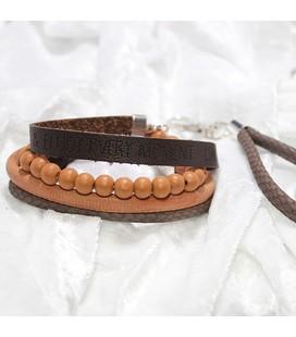 PAKKET C, 4-delig, Stoere snake-armband, kralenarmband en tekstband + sleutelhanger