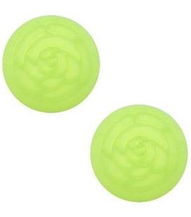 Polaris cabochon roos matt 12 mm Light peridot green