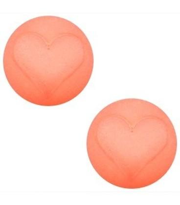 AANBIEDING! Polaris cabochon hart matt 12 mm Light peach