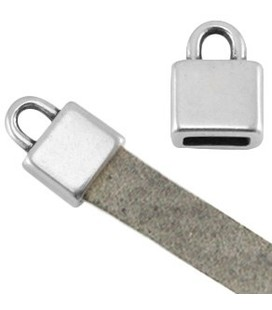 DQ metaal eindkapje vierkant (voor 5mm plat leer) Antiek zilver