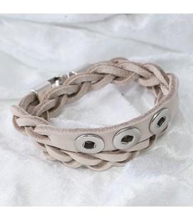 Gevlochten armband 38 cm / 3 miniclicks / 1076 sand nubuck