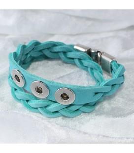 Gevlochten armband 40.5 cm / 3 miniclicks / sand nubuck