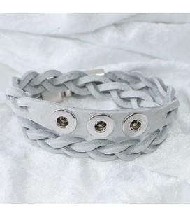 Gevlochten armband 38 cm / 3 miniclicks / donker turq.