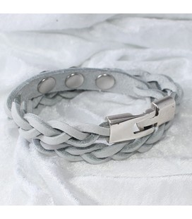Gevlochten armband 38 cm / 3 miniclicks / donker turquoise