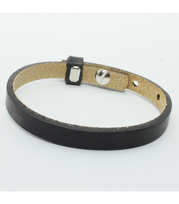 DQ cuoio armband 8mm zwart