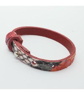 DQ cuoio armband 8mm rood slangleer