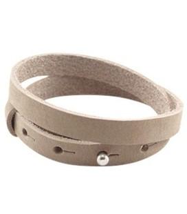 LC armbanden leer 10mm dubbel Sand beige