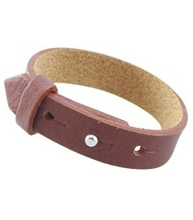 Cuoio  band leer 15 mm voor 20 mm cabochon Dark copper brown