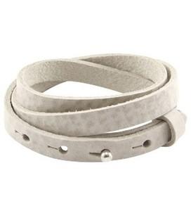 LC armbanden leer 10mm triple Shaded grey