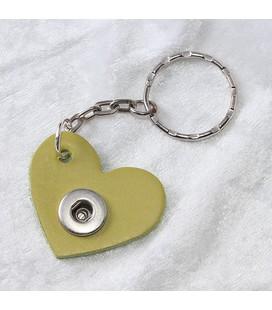 Sleutelhanger mini appelgroen hart ong. 3.5cm