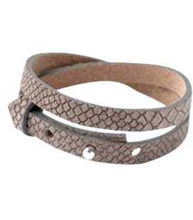 Cuoio band leer Reptile 8 mm dubbel voor 12 mm cabochon Taupe grey