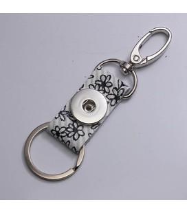 sleutel en tas  hanger bloemetjes wit zwart