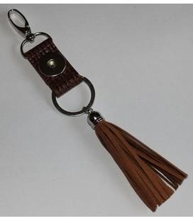 click sleutel en tas  hanger lux bruin met kwast