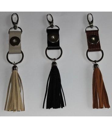 sleutel en tas  hanger lux beige met kwast
