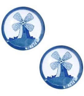Cabochon Delfts blauw molen 12mm White-blue
