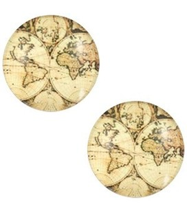 Cabochon world map 12mm Vintage-almond brown